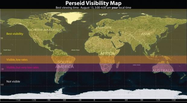 گرافیک ناسا از نقاطی در جهان که می توانند شهاب باران برساوشی را مشاهده کنند.