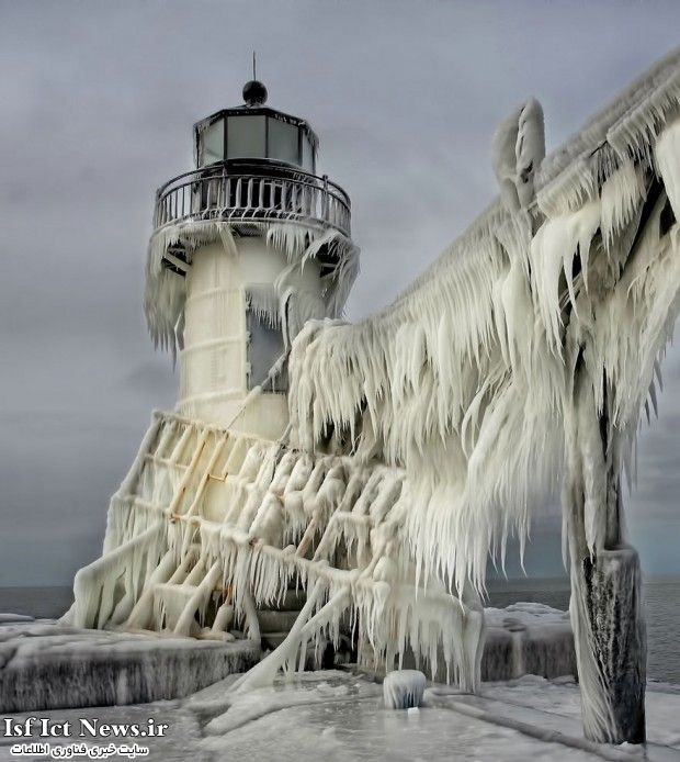 Frozen St. Joseph North Pier Lighthouse, Michigan, USA