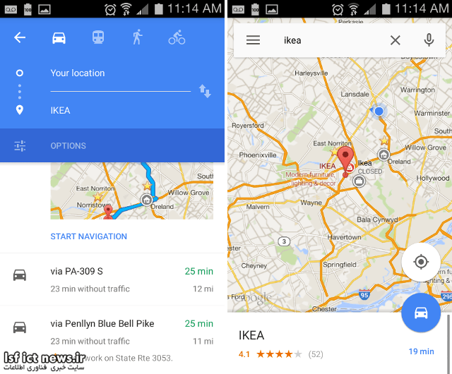 android-google-maps-route-types